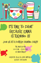 Painting Pots Paint Brushes Invitation