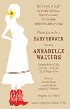 Western Mom With Boots Baby Shower Invitations