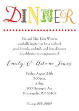 Simplistic Colorful Text Dinner Party Invitations