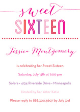 Sweet Sixteen Pink Text Invitations