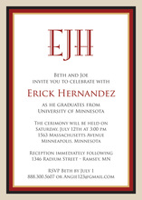 Maroon Khaki Border Invitations