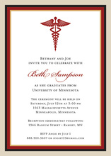 Maroon Khaki Medical Study Graduation Invitations