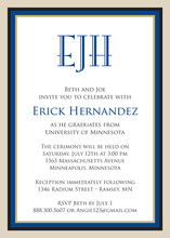 Navy Khaki Border Invitations
