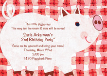 Pig Looking Up BBQ Invitations