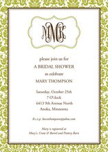 Green Scroll Monogram Bridal Shower Invitations