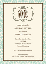 Aqua Scroll Bridal Monogram Invitations