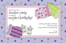 Sleepover Kids Sleeping Bag Invitations