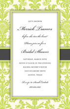 Green Damask Bridal Invitation