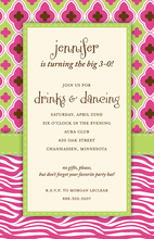 Pink Diva Zebra Invitations