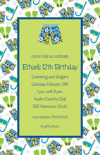 Modern Blue Swim Party Invitations