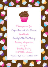 Tasty Cupcakes Kids Border Invitations