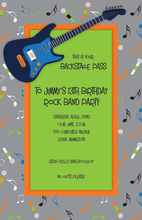 Gray Teen Guitar Birthday Invitations