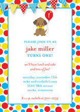 Puppy Dog Holding Balloon Primary Banners Invitation