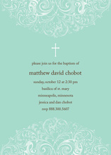 Aqua Filigree Religious Invitations