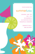 Elegant Luau Cocktail Teal Backdrop Invitations