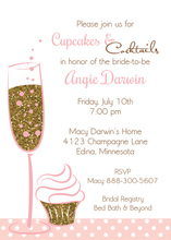 Cupcakes Cocktails Faux Gold Glitter Party Invitations