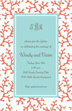 Blue Coral Border Invitations