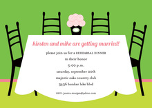 Green Room Dinner Table Rehearsal Invitations