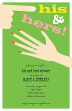 Simple His Hers Fingers Couple Shower Invitations