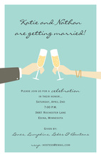 Aqua Champagne Celebration Toast Marriage Invitations