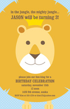 Playful Lion Face Birthday Invitations