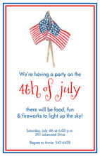 Traditional July American Flags Invitations