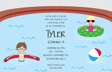 Backyard Pool Party Little Splash Invitations