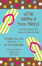 Flip Flop Polka Dots Invitation