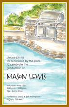 Beautiful Cozy Poolside Grill Invitations