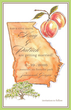 Pretty Georgia Map Peaches Invitation