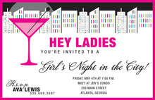 Night Out Town Cosmo City Invitations