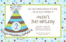 Classic Party Hat Blue Invitation