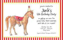 Party Pony Kids Birthday Invitations