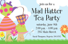 Colorful Fun Tea Party Invitations