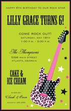 Pink Rock Wild Guitar Invitations