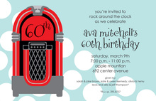 Red Juke Box Polka Dots Music Invitations