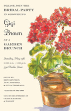Red Geraniums Shower Invitations