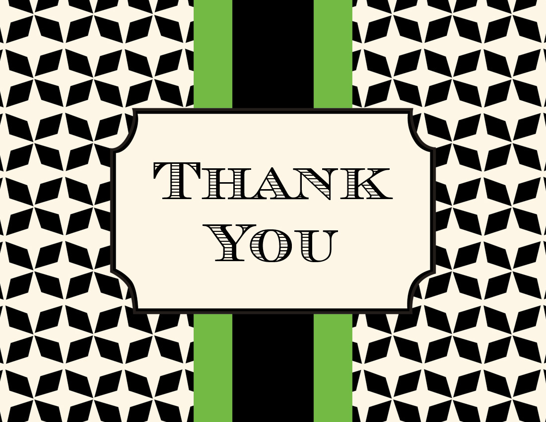 Grand Green Thank You Cards