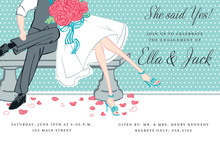 Relax At Park Bench Couple Shower Invitations