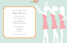 Three Silhouette Beautiful Bridesmaids Shower Invites