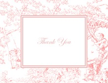 Toile Pink Thank You Cards