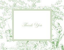 Toile Green Thank You Cards