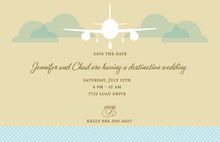 Aqua Airplane Travel Cards Invitation