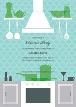 Elegant Turquoise Kitchen Scene Fabulous Invitations