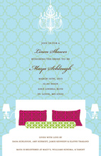 Contrasting Aqua Linens Bridal Shower Invitations