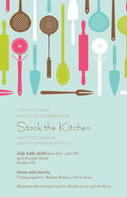Aqua Stock the Kitchen Bridal Shower Invitations