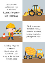 Kids Construction Squares Invitation