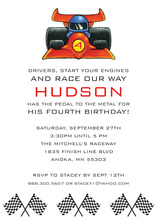 Kids Red Indy Race Car Invitations