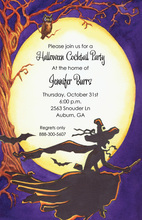 Witch Riding Her Broom Invitations