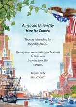 American Downtown Sailboats In City Invitations